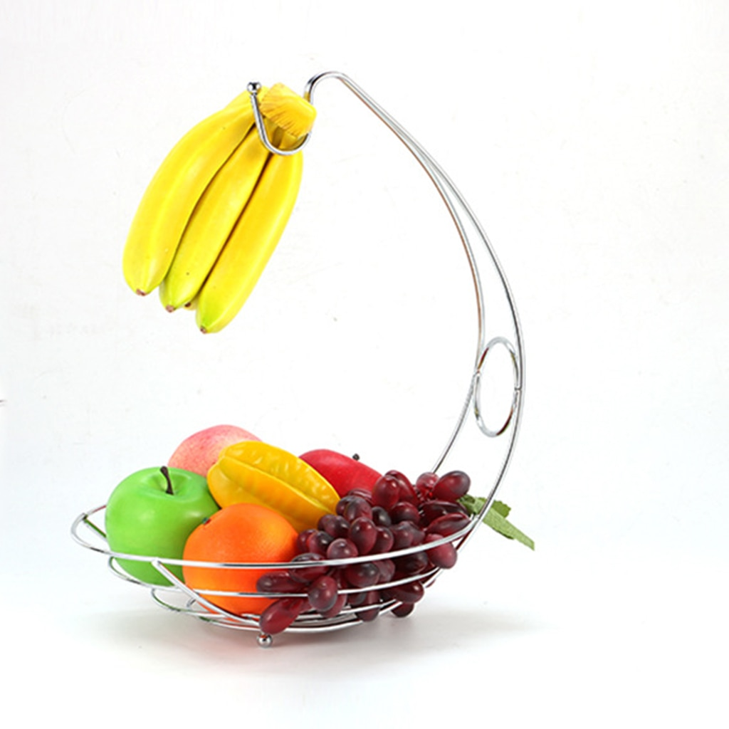 Cesta de almacenamiento 2 en 1 para fruta creativa, mesa de comedor, contador de escritorio de cocina, organizador de banano, moderno soporte de frutas decorativo