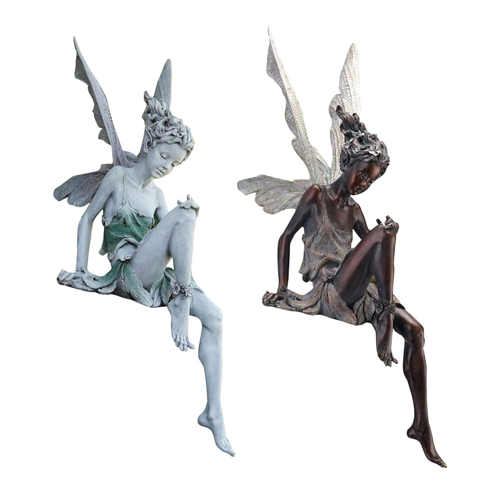 Fairy Statue Garden Ornament Fairy Figurine Resin Craft Decoration Study Living Room Yard Landscape Sculpture Garden Accessories