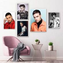 Liam payne retrato cantor britânico cartaz e cópias da arte da lona pintura de parede moderno bar decoração para casa
