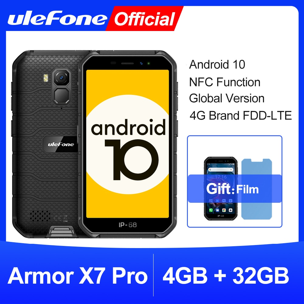 هاتف Ulefone Armor X7 Pro, هاتف Ulefone Armor X7 Pro أندرويد 10 هاتف متين 4 جيجا RAM هاتف ذكي مقاوم للماء هاتف خلوي IP68 NFC 4G LTE 2.4G/5G WLAN