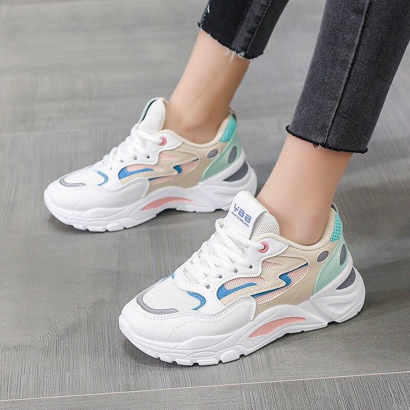 Zapatillas deportivas de malla blanca para mujer, calzado deportivo, transpirable, combina con...
