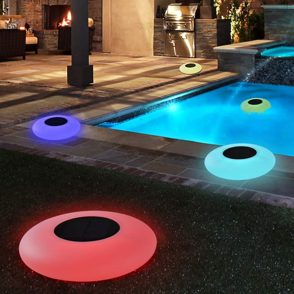 Floating Pool Lights Solar Swimming Pool Light with 16 Color Changing Outdoor Solar Light Waterproof LED Lights for Patio, Pool