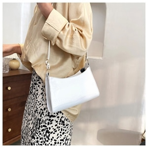 Purses And Handbags Luxury Designer Crocodile Pattern Baguette Bags Leather Shoulder Bags for Women 2020 Elegant HandBag Travel