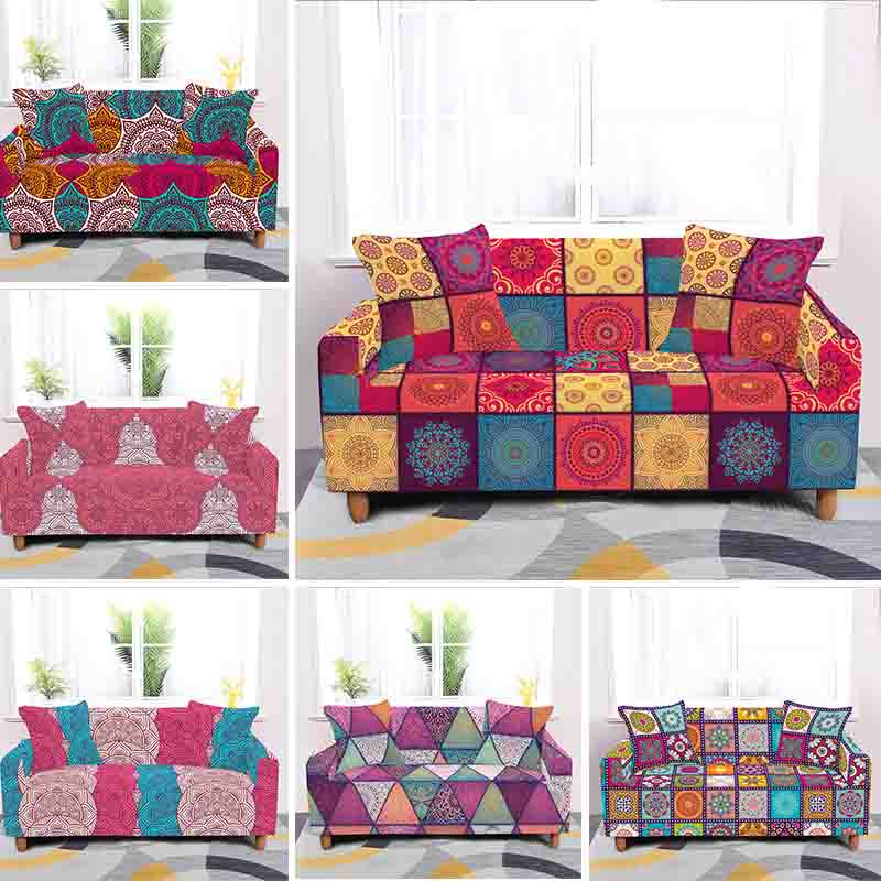 غطاء مقعد أريكة بوليستر مرن وماندالا ، واقي أثاث قابل للغسل ، وغطاء أثاث غرفة المعيشة