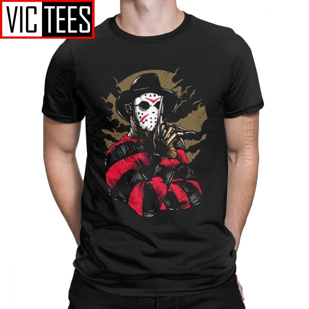 Fashion Freddy Vs Jason Tshirt for Men 100 Percent Cotton T Shirt Horror Movie Scary Friday the 13th Voorhees
