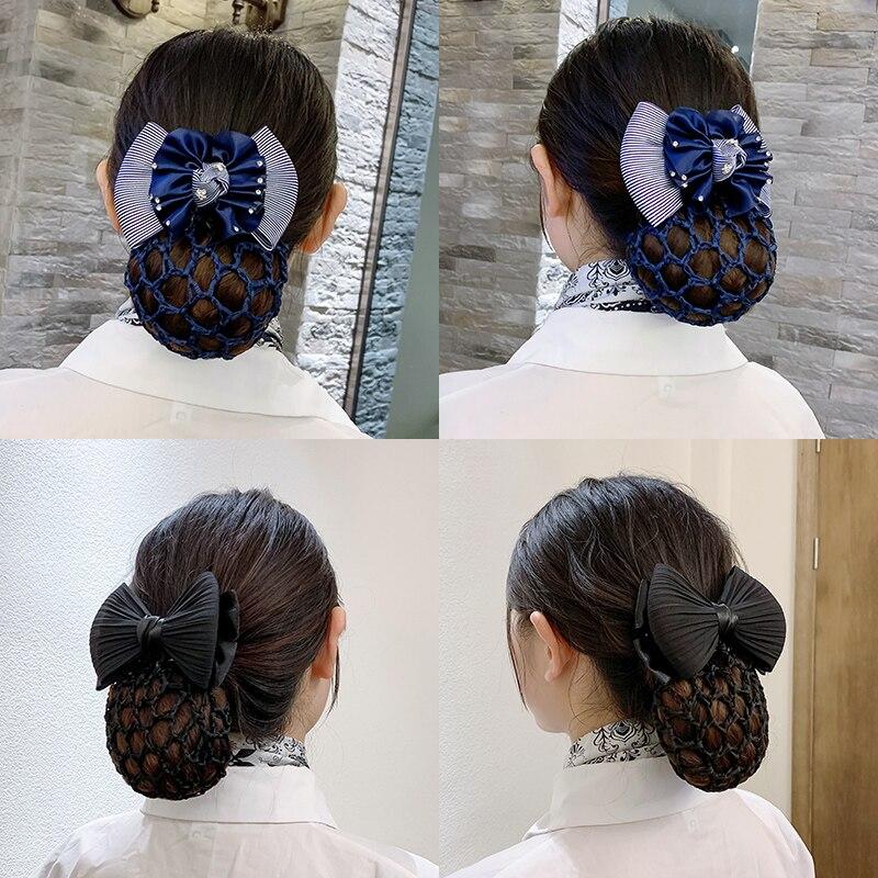 Professional Female Head Flower Hair Net Nurse Hotel Bank Stewardess Staff Korean Bow Hair Card Hair Accessories