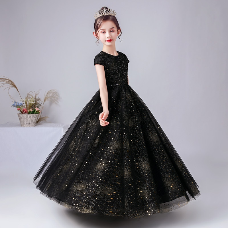Luxury Formal Evening Party Dresses Sparkly Sequins Black Princess Gown Girls Long Wedding Flower Girl Junior Bridesmaid Dress