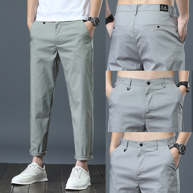 Autumn Men Fashions Solid Color Casual Pants Straight Slight Elastic Ankle-Length High Quality Formal Trousers