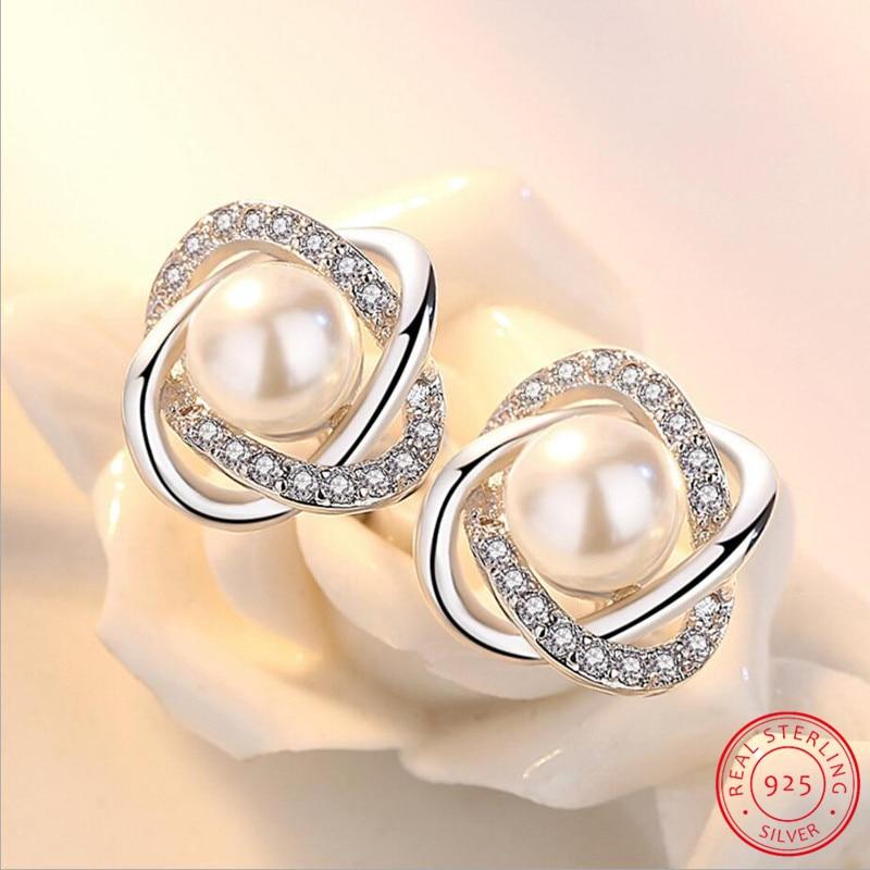 Lujosos pendientes de plata de ley 925 con circonita y perlas, pendientes de lujo para mujer, pendientes S-E290