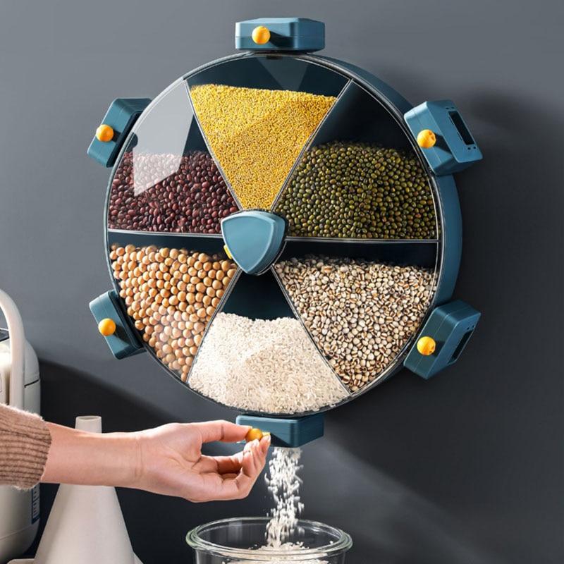 شبكة الحائط الحبوب صندوق تخزين موزع الأرز اكسسوارات المطبخ المنظمون تخزين حاويات تخزين الطعام المنزلية