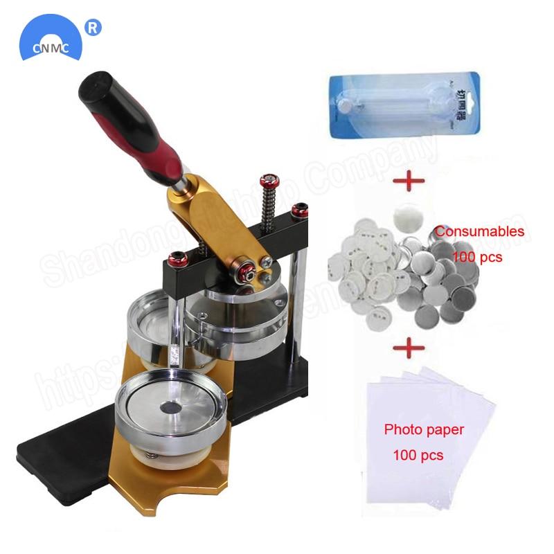 Drehen Taste Abzeichen Maschine mit 100 Sets Kreis Teile Punch Presse Maschine für DIY Abzeichen