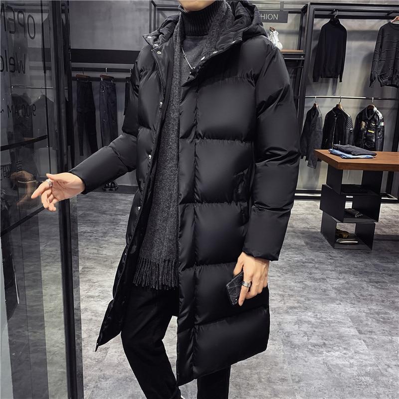 Зимние куртки для мужчин с капюшоном, повседневные длинные пуховые куртки, плотные теплые парки, новая мужская верхняя одежда, зимние пальт...