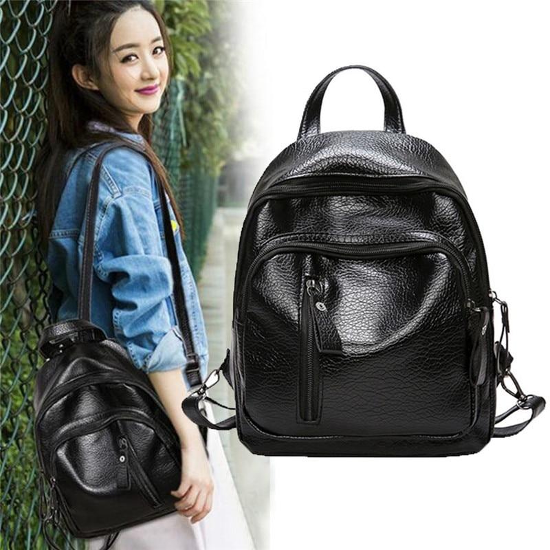 Women Backpack Pu Leather Black Shoulder Bag Female Student School Bags For Women Outdoor Travel Bags Ladies Laptop Backpack