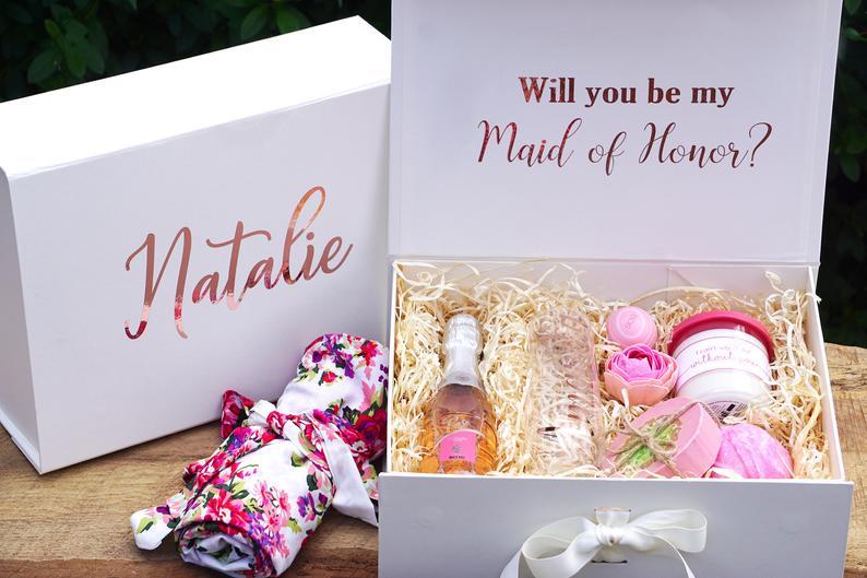 صندوق هدايا مخصص لوصيفات العروس ، هل تكون خادمة الشرف صندوق اقتراح ، صناديق تذكارية زهرة الزفاف المخصصة للفتيات