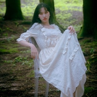 Dress For Women Dress Vintage Elegant Slim Emboridery Lace Dress Pajama VICTORIA Court Style Rococo Dress vestido feminino