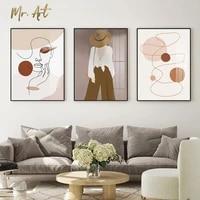 Peinture sur toile moderne avec contours  affiche de decoration de salon scandinave  image de visage de fille abstraite  decor de maison