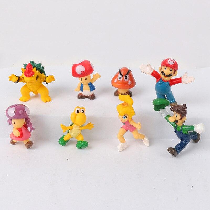 8 unids/lote 3-4,5 CM clásico Super Mario Bros figura de acción Mario Luigi Yoshi de Goomba King Kong DE ACCIÓN DE PVC Juguetes