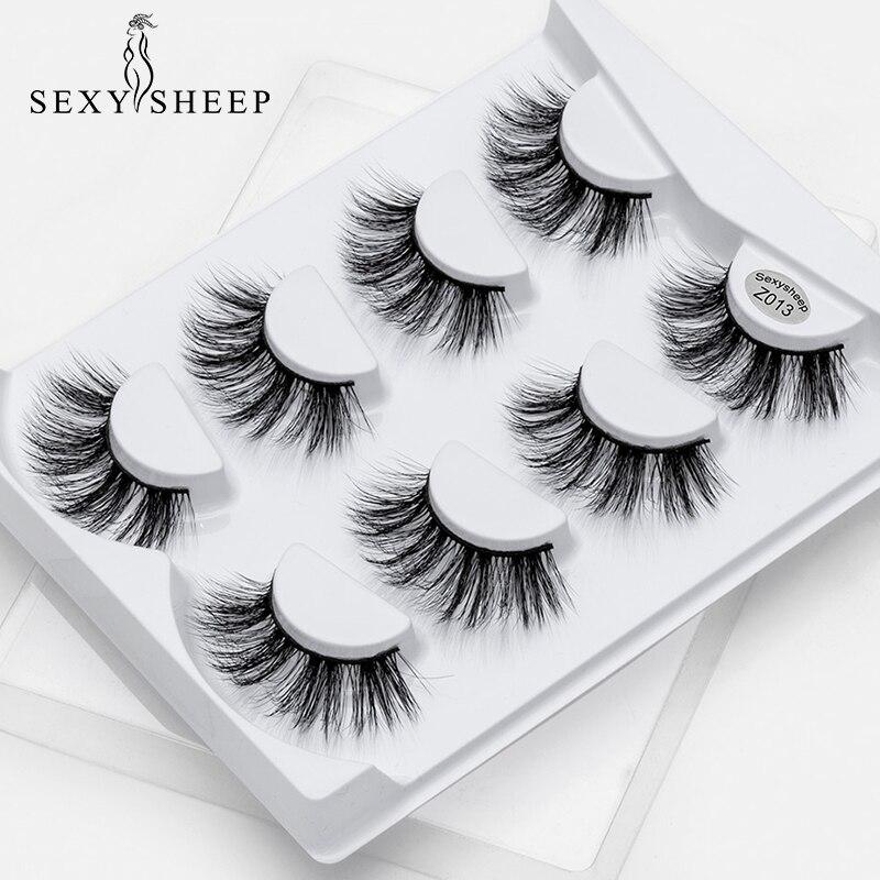 SEXYSHEEP 4 pares 3D pelo de visón entrecruzadas naturales pestañas postizas largo desordenado maquillaje extensión de pestañas postizas maquillaje herramientas de belleza