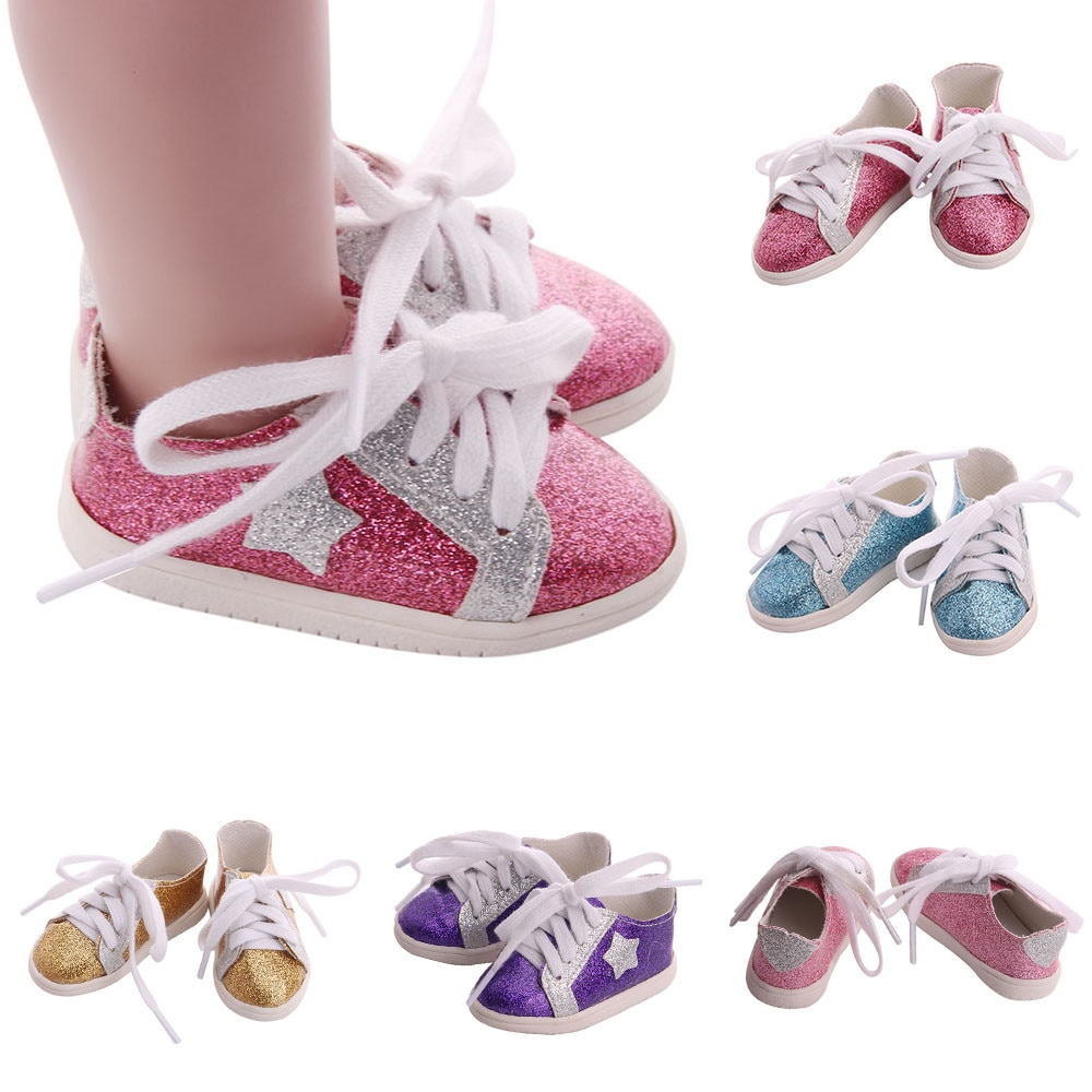 New Arrival 7CM Shoes Fit for 43cm Dolls Baby New Born New Fashion Clothes Sequins Shoes Suit for 18 inches American Doll Shoes недорого