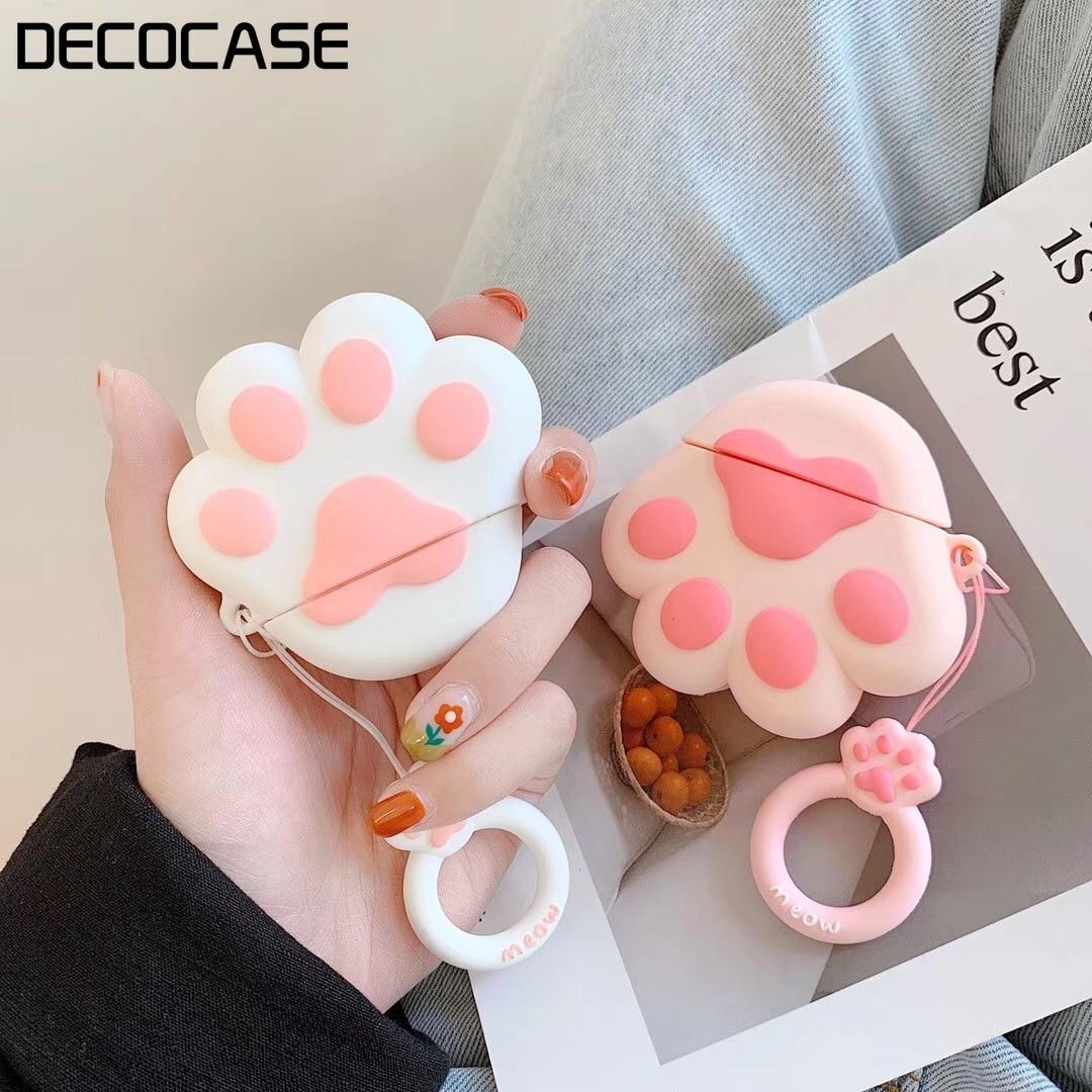 Kuutti Lovely Cat Claw Rosa Blanco Kawaii funda para auriculares para AirPods Box funda protectora accesorio de piel para funda de aire bonita