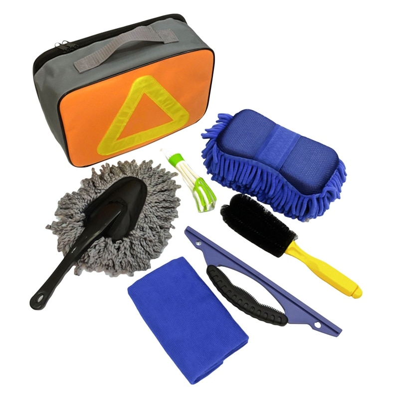7Pcs Car Wash Cleaning Tool Kit Automotive Tire Wheel Brush Chenille Wash Sponge Microfiber Towel Cloth With Bag