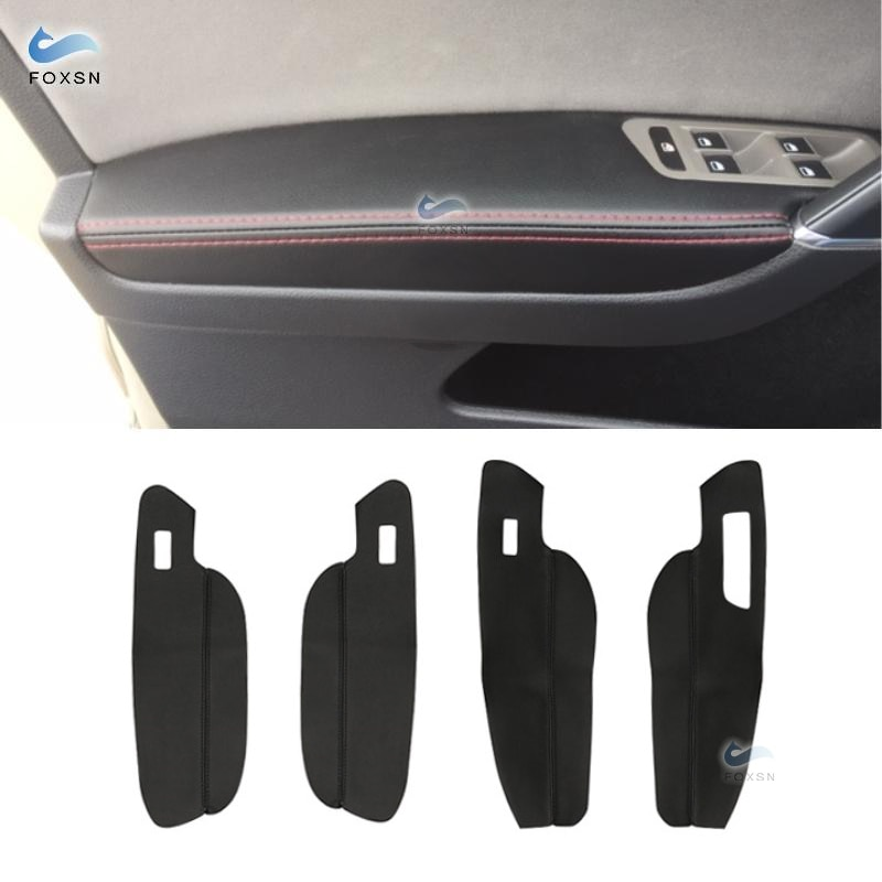 LHD For VW Golf 7 2014 2015 2016 2017 2018 4pcs Car Door Handle Armrest Panel Microfiber Leather Protective Cover Trim