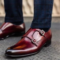 new men fashion trend business dress shoes handmade red pu gradient round toe low heel classic double buckle monk shoes kr441