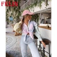 felin za summer oversized hit color shirts women fashion 2021 striped print cropped tops mujer long sleeve streetwear shirts