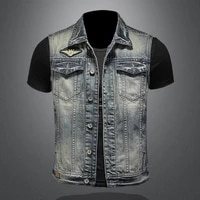 2021 spring autumn high quality mens pure color embroidered lapel single breasted slim sleeveless retro mens denim waistcoat