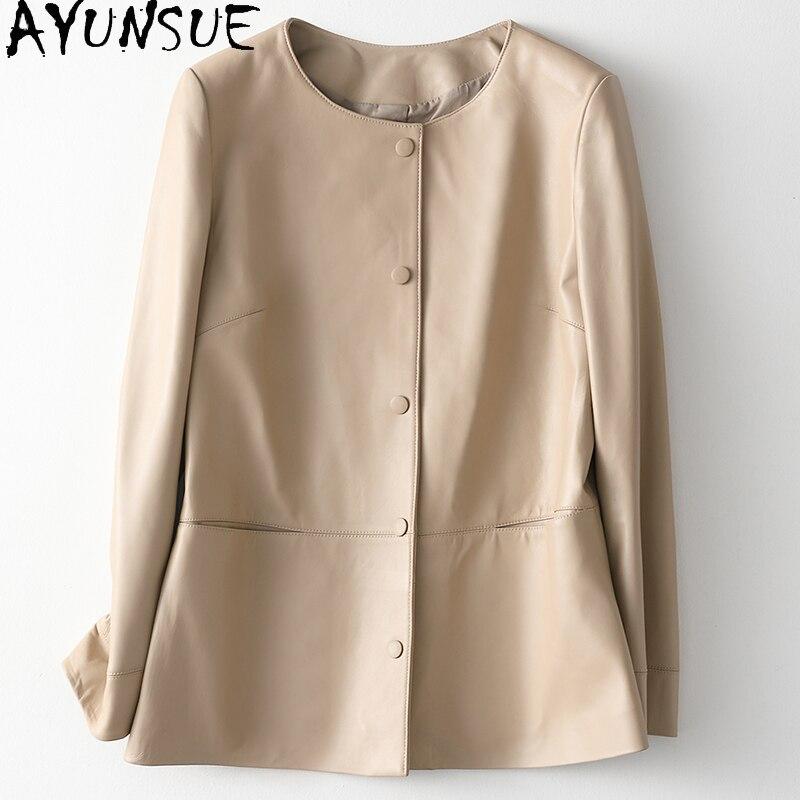AYUNSUE-جاكيت جلد أصلي عالي الجودة للنساء ، معطف قصير من جلد الغنم ، معاطف وسترات غير رسمية ، 2021