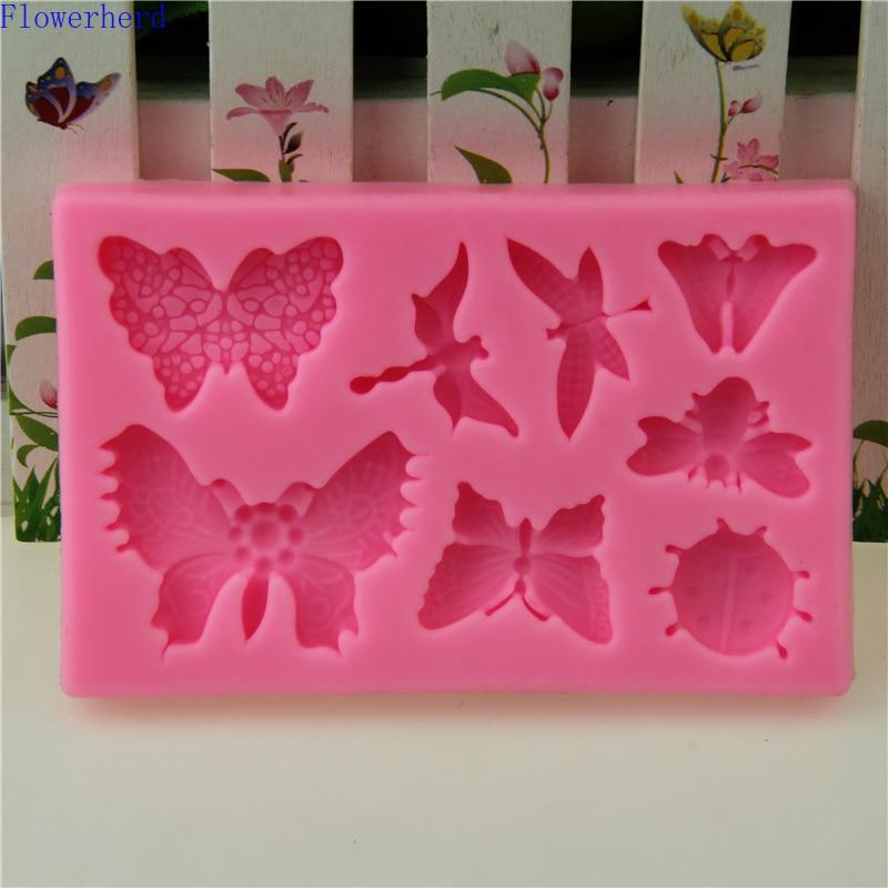DIY herramientas de pastel libélula mariposa Fondant molde de silicona molde de jabón molde de Chocolate decoración de tartas herramientas de repostería molde de pastelería