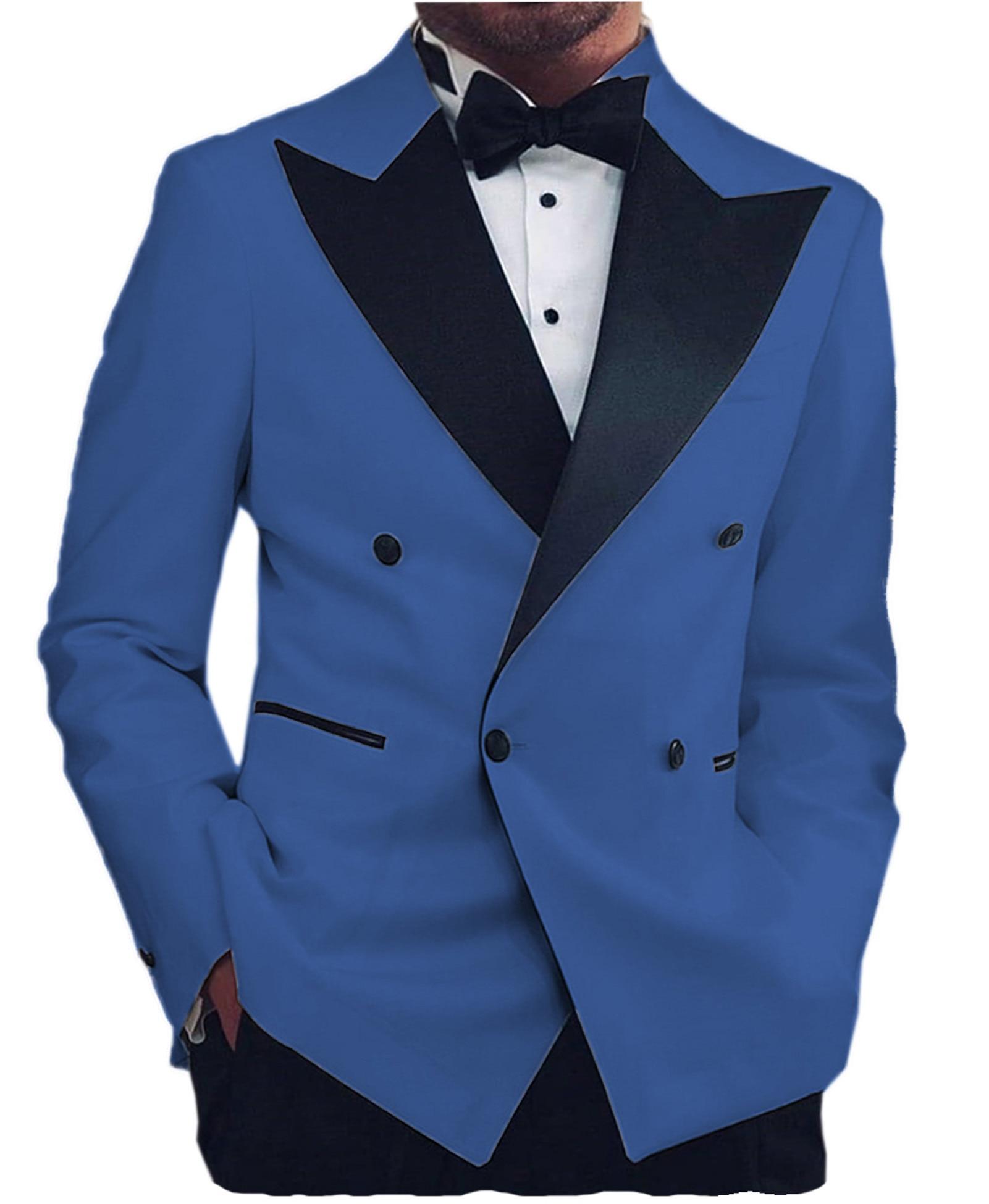 Solovedress بدلة رجالي 2 قطعة عادية الذروة التلبيب شقة الصلبة مزدوجة الصدر البدلات الرسمية سترة بنطلون لحفل الزفاف (السترة + السراويل)