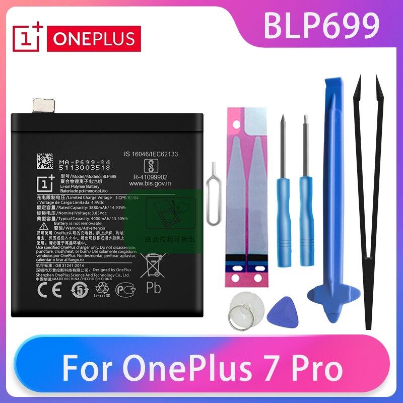Original OnePlus 7 Pro One Plus 7Pro Phone Battery BLP699 4000mAh High Capacity Batteries Free Tools AKKU