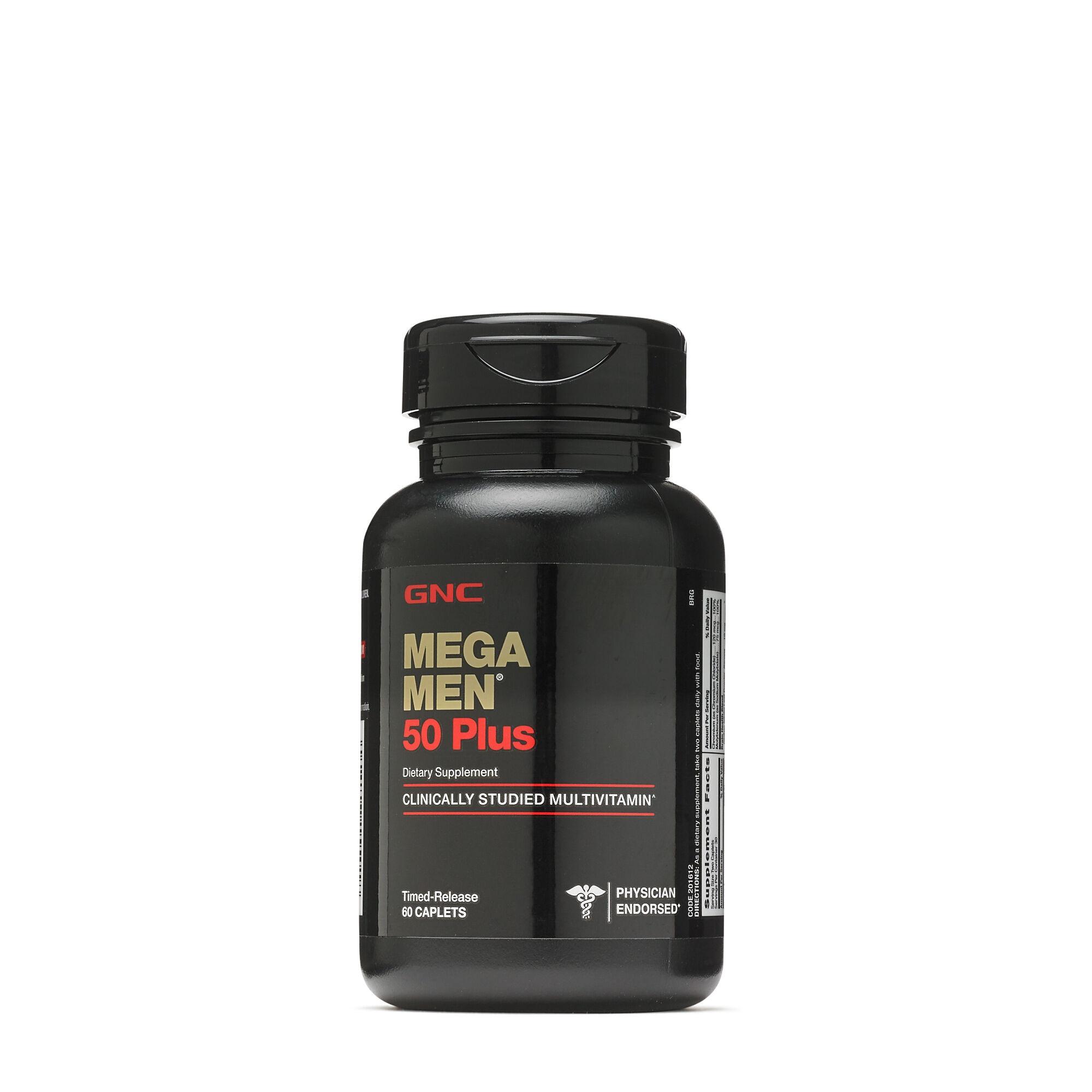 MEGA MEN 50 PLUS 60 Caplets, multivitamin, L-arginine, Saw Palmetto, for Men's Health, Heart, Prostate & Circulatory Support,