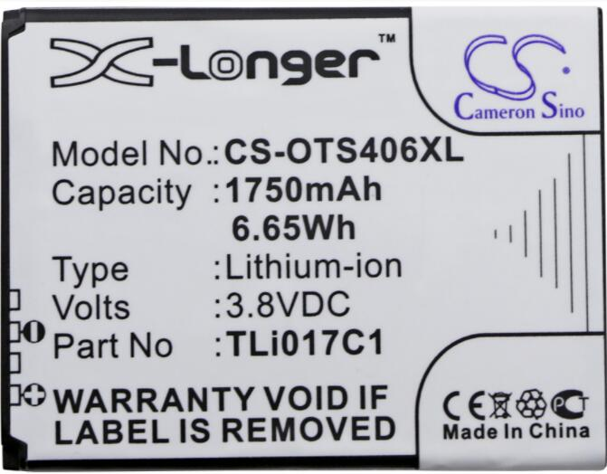 Cameron sino 1750mah bateria para ALCATEL ONE Touch Pop OT-4060 4060A 5017 5017D 3 4.5 Streak 5019 TLi017C1