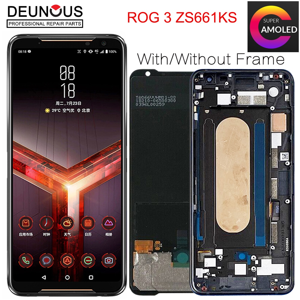 شاشة أموليد أصلية 6.59 بوصة لأجهزة Asus ROG 3 ZS661KS, شاشة عرض LCD + محول رقمي للوحة اللمس لهاتف ROG 3 Strix ASUS_I003DD
