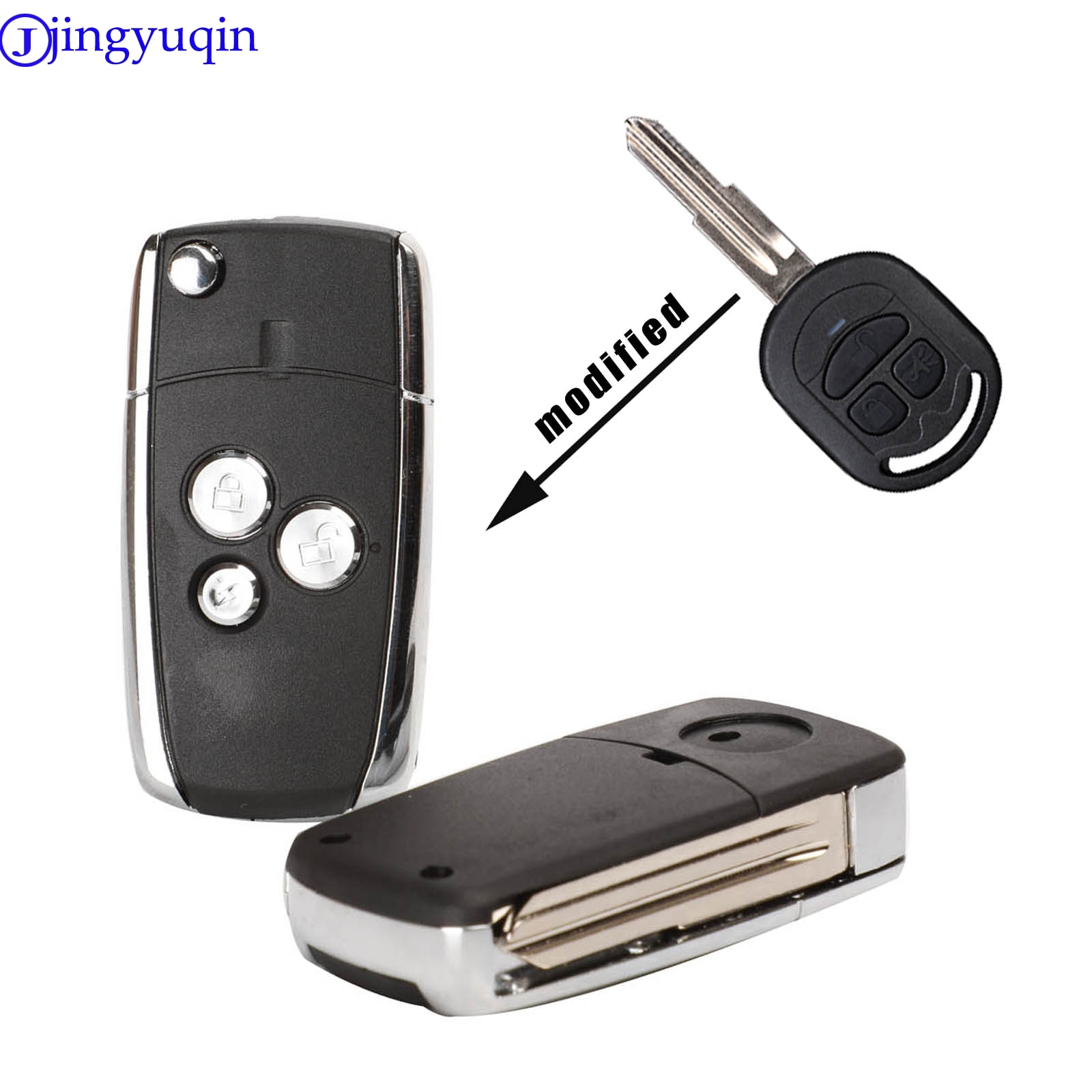 Jingyuqin Neue Änderung 3 Taste Flip Folding Remote Key Blank Fall Auto Schlüssel Shell Fit Für Buick Excelle HRV Schlüssel shell