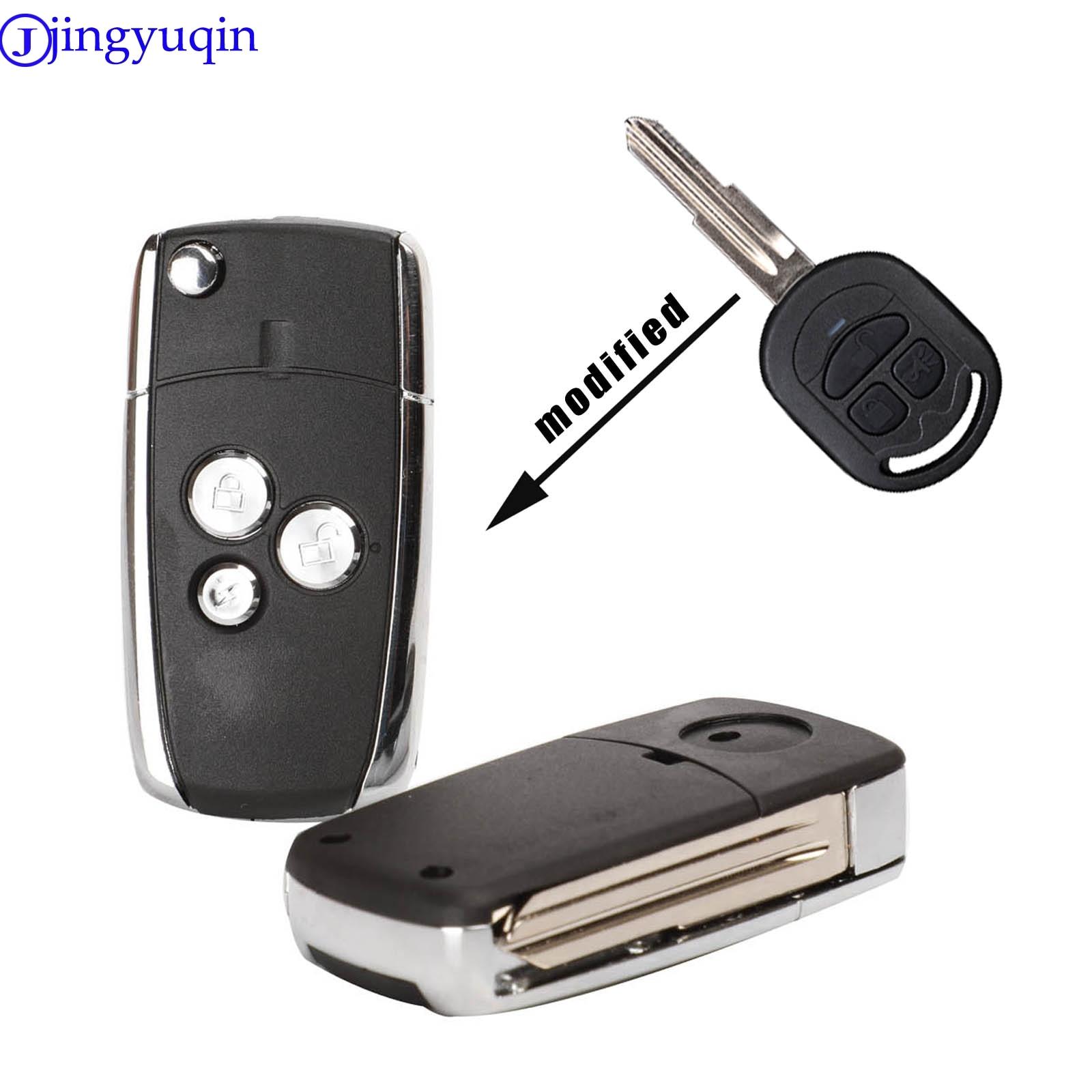 Nueva modificación de jingyuqin, carcasa plegable con 3 botones, mando a distancia, clave sin grabar, carcasa para llave de coche apta para Buick Excelle clave HRV Shell