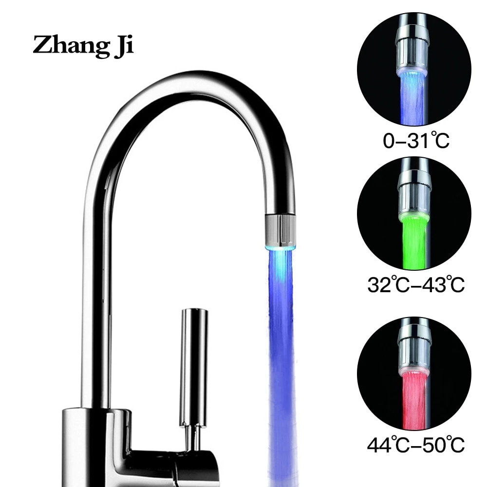 Zhang Ji LED Temperature Sensitive 3-Color Light-up Faucet Kitchen Bathroom Glow Water Saving Faucet Aerator Tap Nozzle Shower