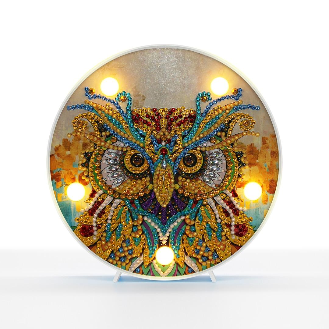 Coruja Resina Cristal Pintura Diamante Kit LED Night Light DIY 5D Desenho Kit Lâmpada de Cabeceira Artes Artesanato Decorações De Natal para casa