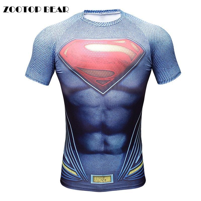 2016 3D T-Shirt hommes Superman Batman hommes hauts Compression musculation drôle impression t-shirts mâle garçon Camisetas ZOOTOP ours