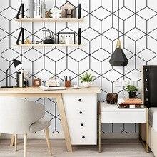 Di modo minimalismo geometrica carta da parati camera da letto studente dormitorio scrivania del computer di sfondo decorazione della parete moderna striscia di carta da parati
