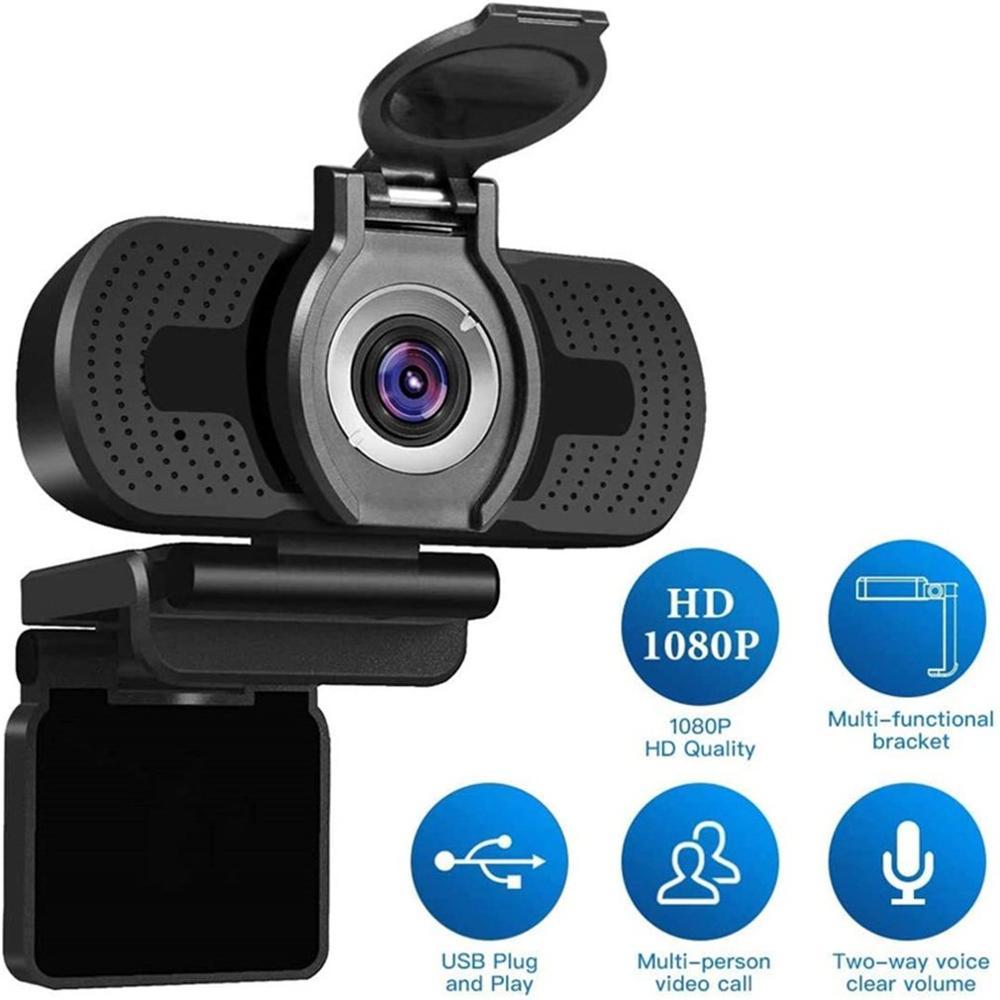 كاميرا كمبيوتر 1080P كاميرا فيديو حية مع غطاء ABS عدسة بصرية التوصيل والتشغيل ميكروفون رقمي كامل للحد من الضوضاء