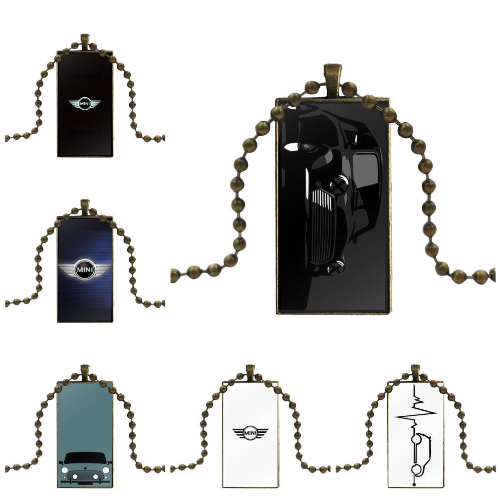 Para mujeres moda de hombre collar hecho a mano rectángulo forma gargantilla collar joyería Multi diseños Mini Cooper Jcw Logo