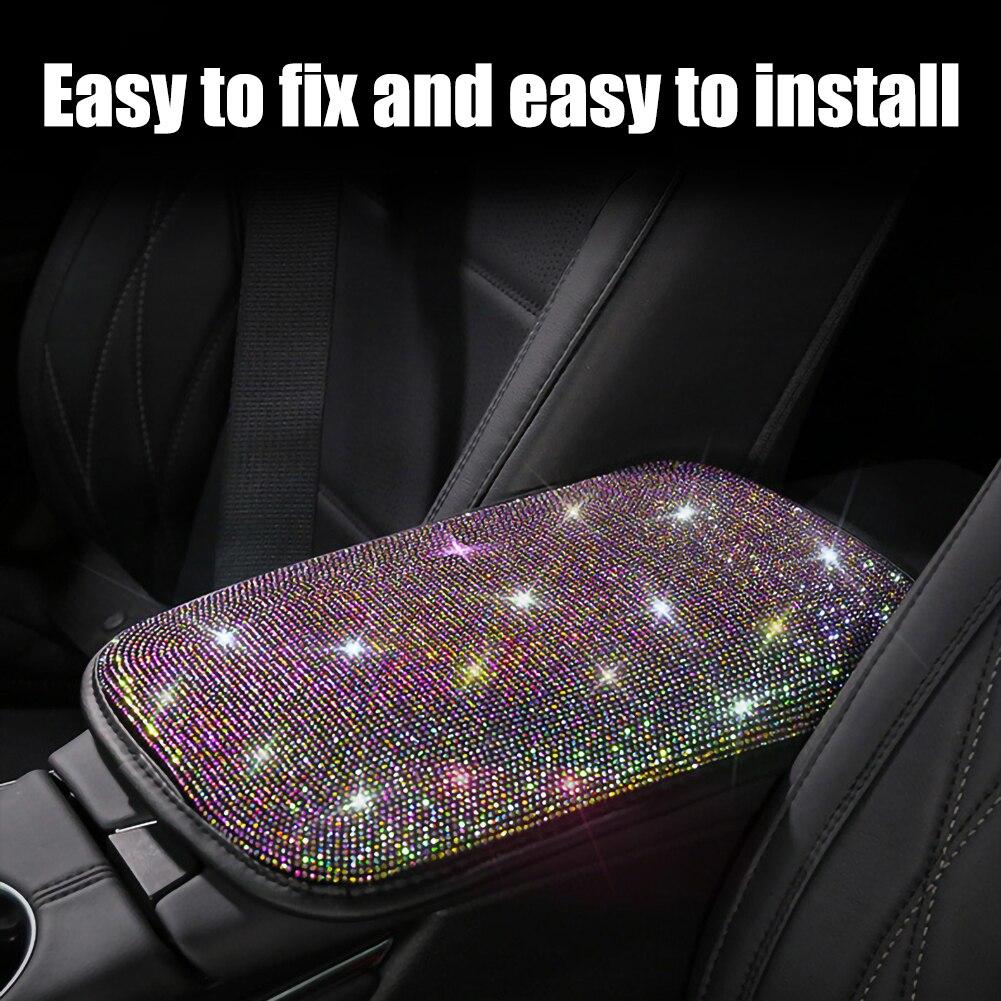 Автомобильный коврик для подлокотника с кристаллами и бриллиантами, универсальный автомобильный подлокотник, коврик для хранения, Пыленеп...