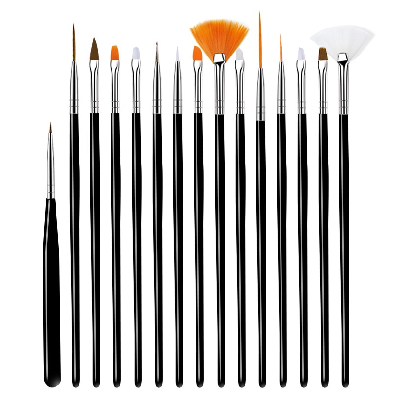 Nail Brush For Manicure Gel Brush For Nail Art 15Pcs/Set Nail Brush Acrylic Liquid Powder Carving Gel Brush