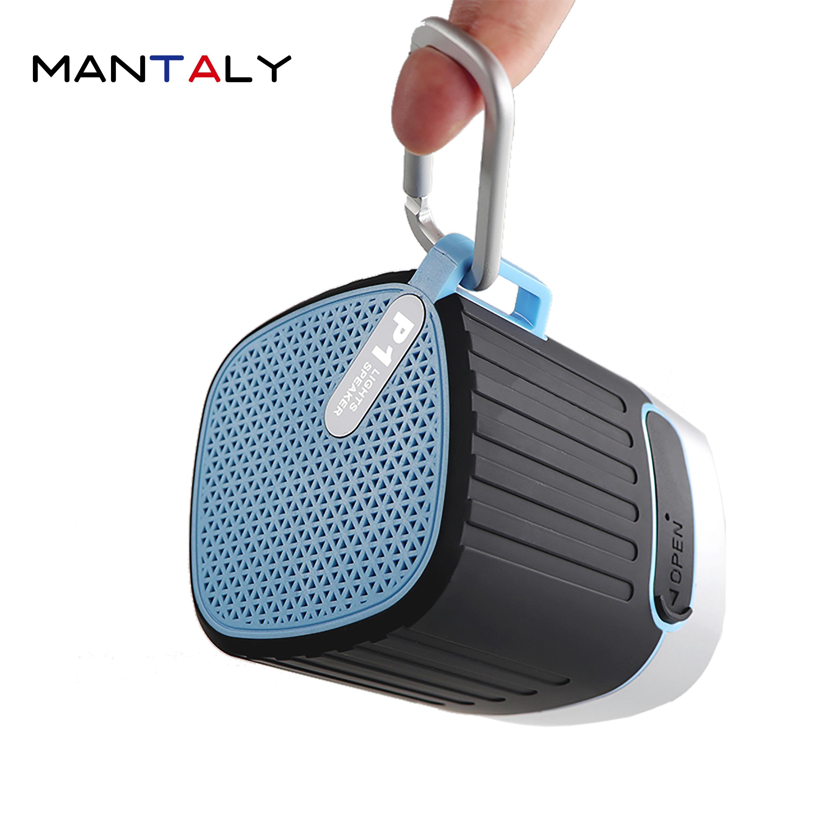 P1 mini Altavoz bluetooth inalámbrico portátil parlante spotify ordenador retro premium boombox azul USB con forma de diente