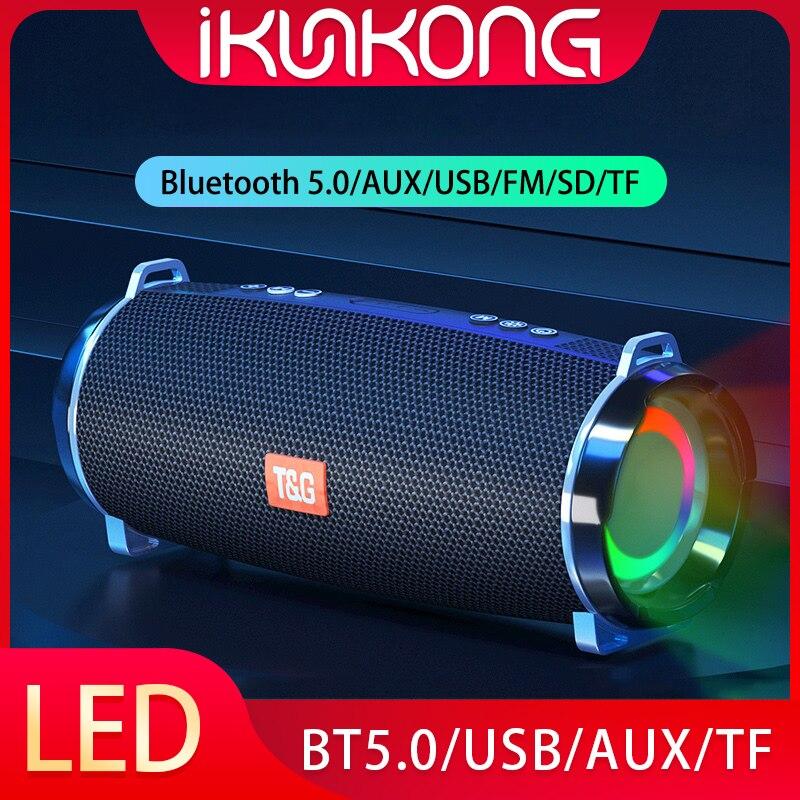 Altavoz Bluetooth portátil con luz LED, Subwoofer de Bajo inalámbrico, Boombox de...