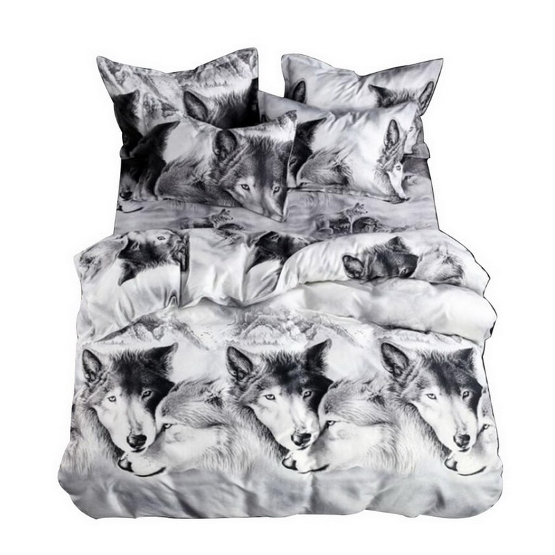 2/3pcs Bed Linen Set 3D Oil Printing Bedding Set WOLF Bed Clothes 3D Comforter Cover Bed Sheet Set Pillowcase (SizeTwin/Queen/K