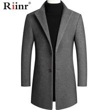 Riinr Brand Men Wool Blends Coats Autumn Winter New Solid Color High Quality Men's Wool Coats Luxurious Wool Blends Coat Male
